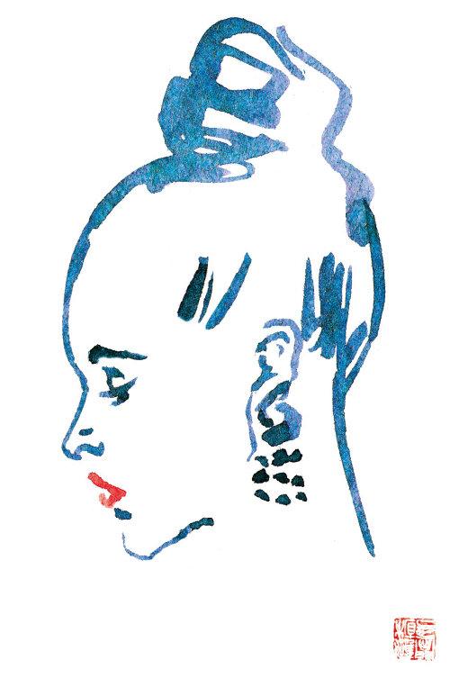 Fashion line portrait of women