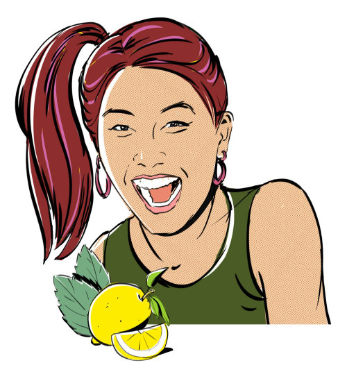 Illustration of woman with lime