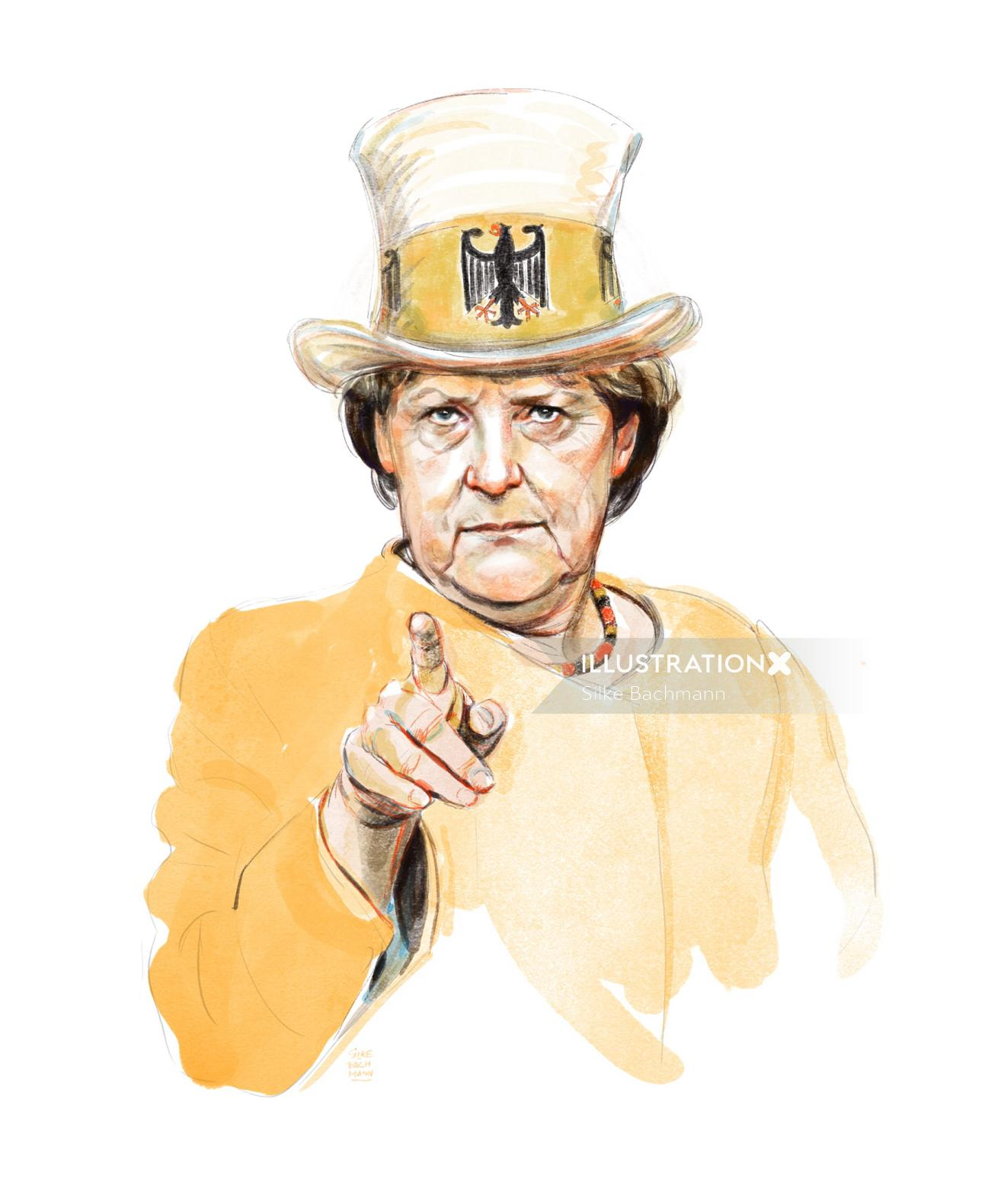 Watercolor illustration of woman with hat