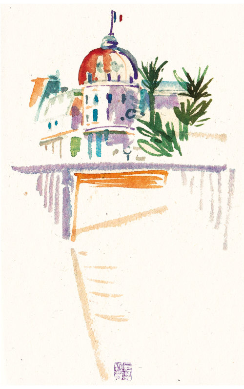 Architecture illustration of royal palace