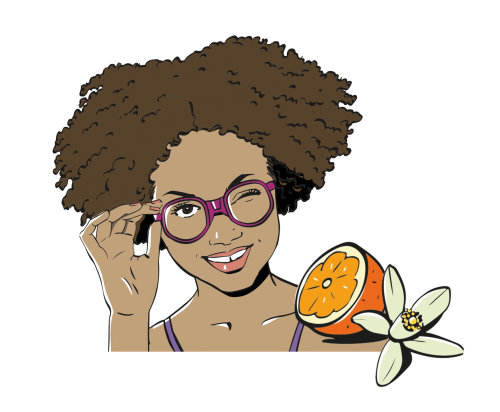 illustration of woman with pink frames and lemon