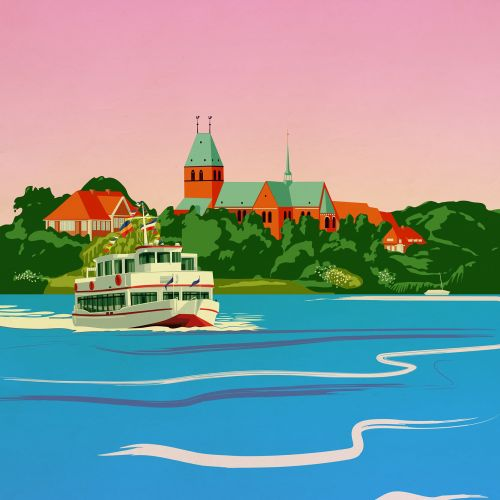 Watercolor boat travel illustration