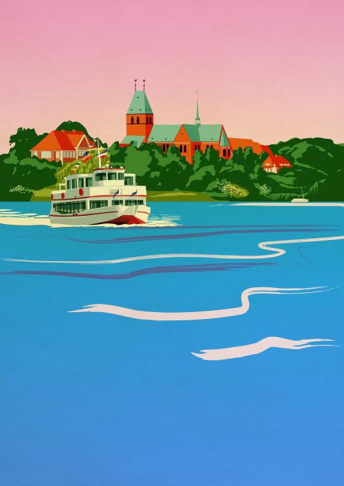 Watercolor boat travel illustration