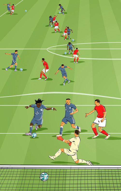 Illustration de sport et de remise en forme des joueurs de football
