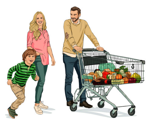 Illustration of family with shopping cart