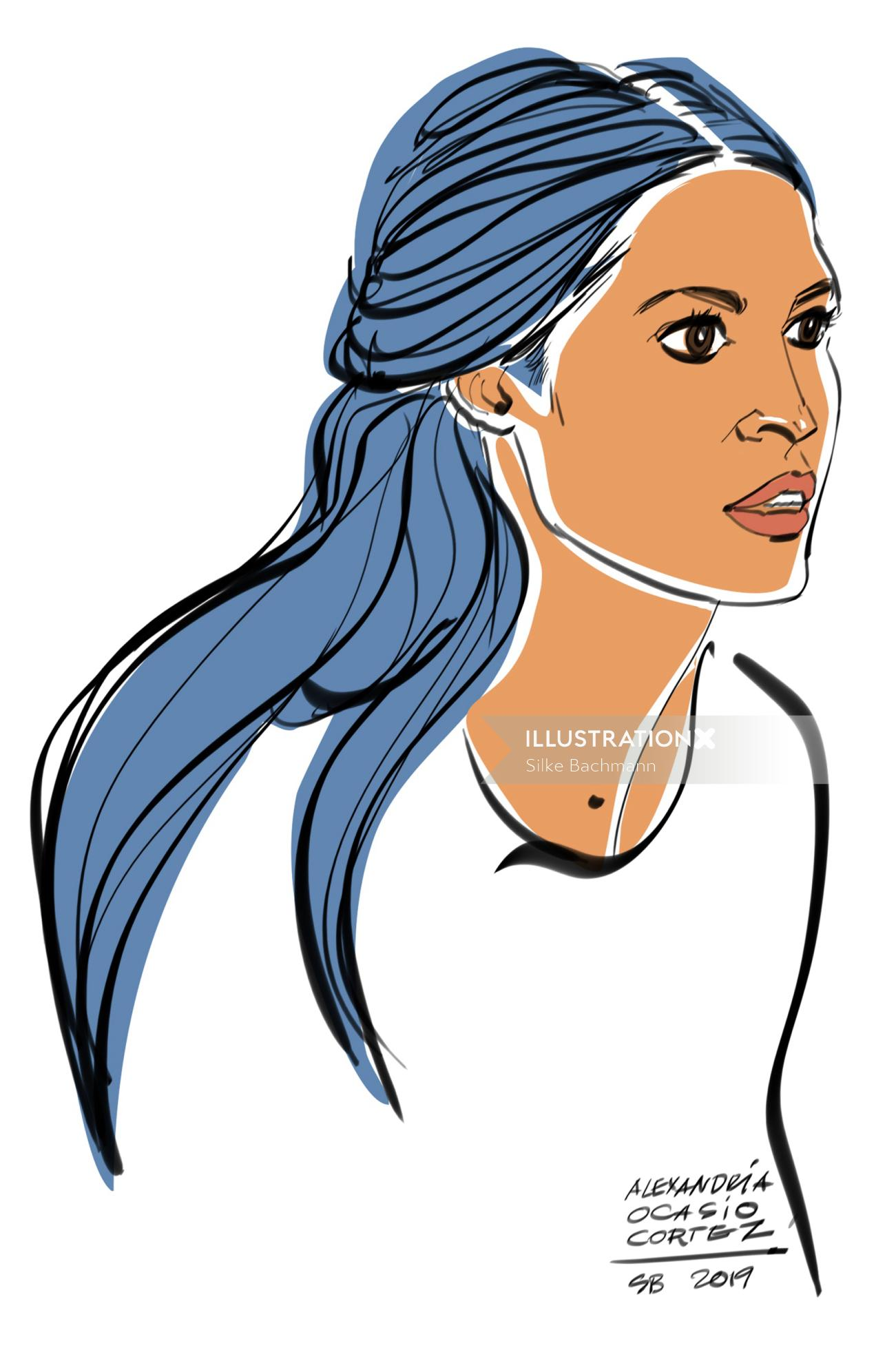 Fashion portrait illustration of women