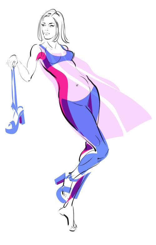 Fashion illustration of stylish model