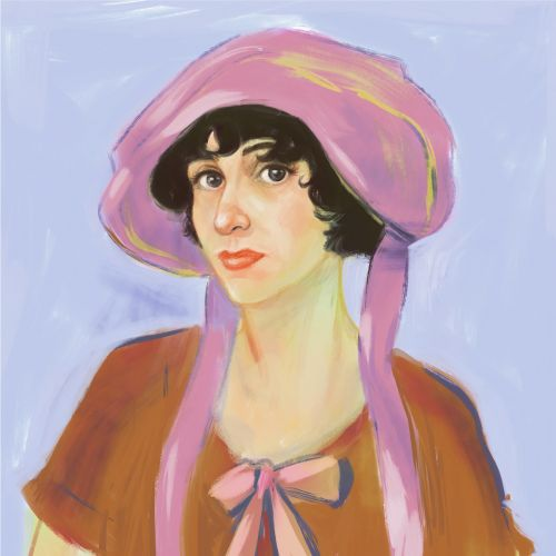 Watercolour painting of a retro woman