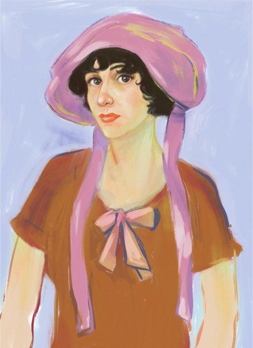 Peinture à l'aquarelle d'une femme rétro