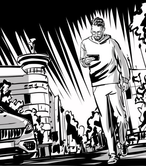 Black & white man walking in street