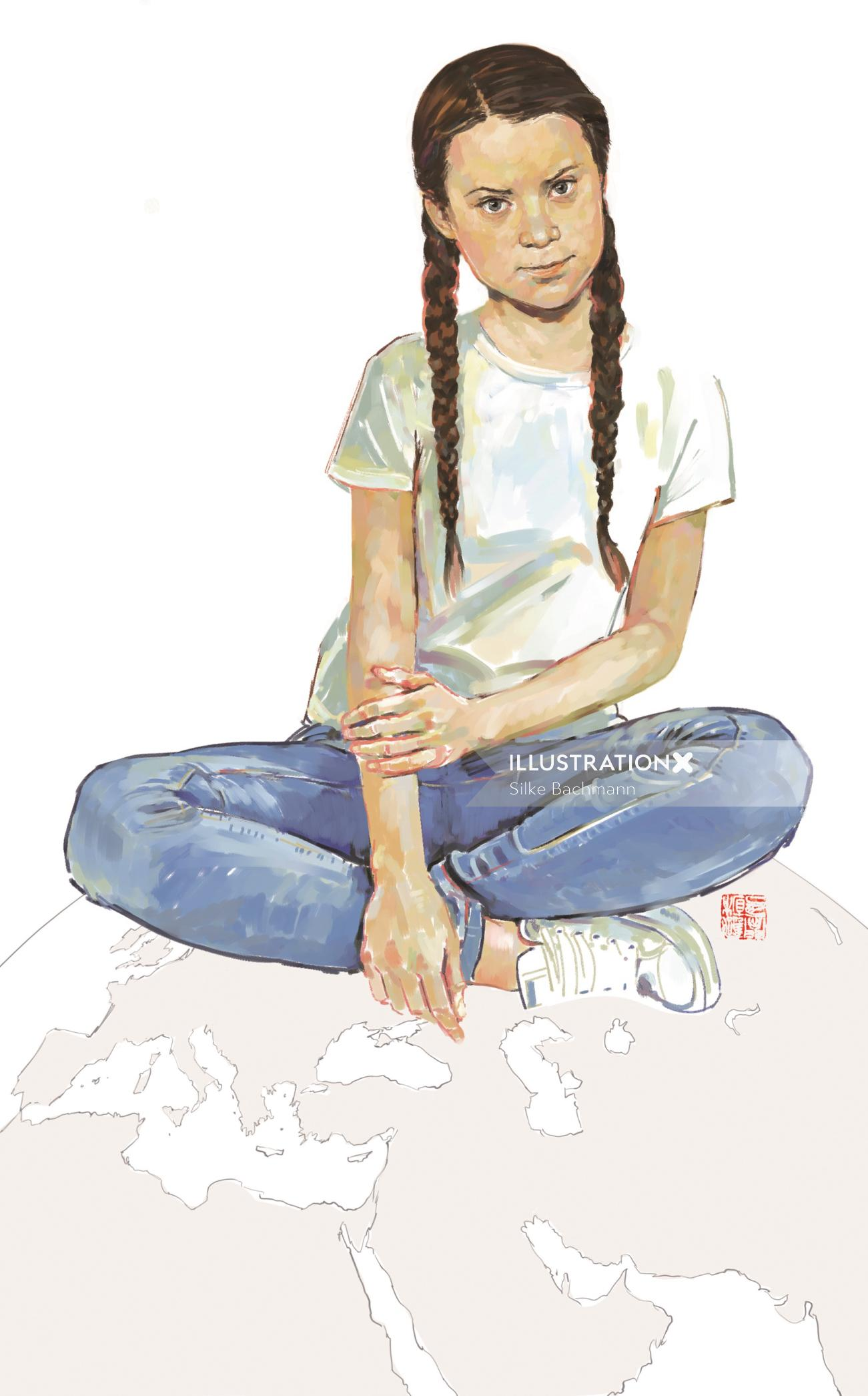 Fashion illustration of teenage girl