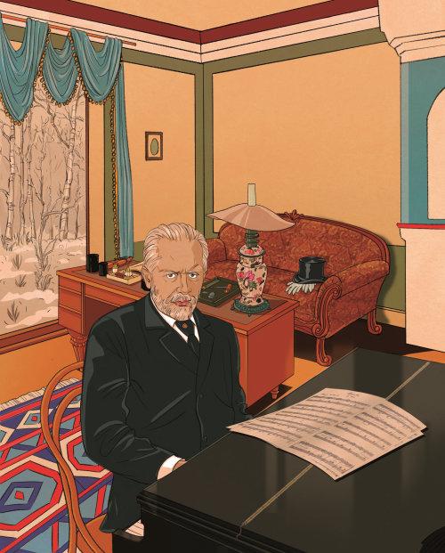 Illustration de l'homme d'affaires avec piano