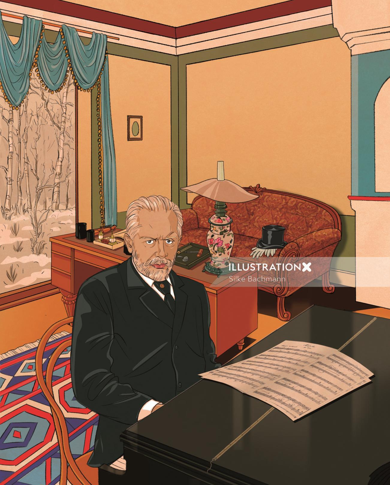 Illustration of Business man with piano