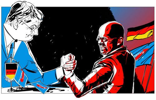 Illustration of leaders hand wrestling