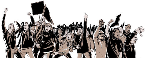 Les gens qui protestent
