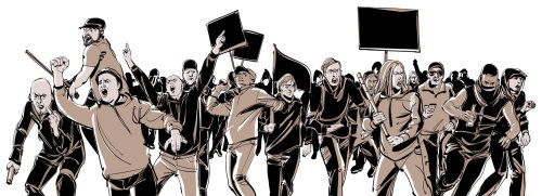 Water color illustration of people protesting
