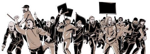 Illustration de la couleur de l'eau de personnes protestant