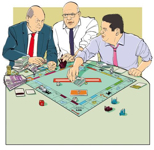 Cartoon illustrtaion of people playing game