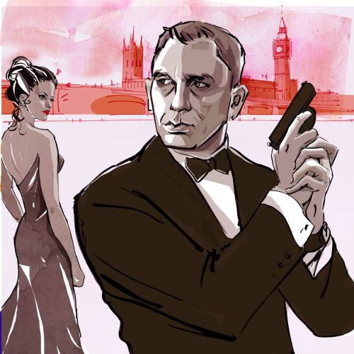 Fashion illustration of James bond