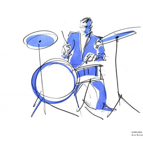pencil made illustration of drummer