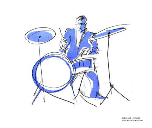 pencil made illustration of drummer