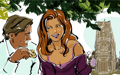 chatting couple in french town line illustration