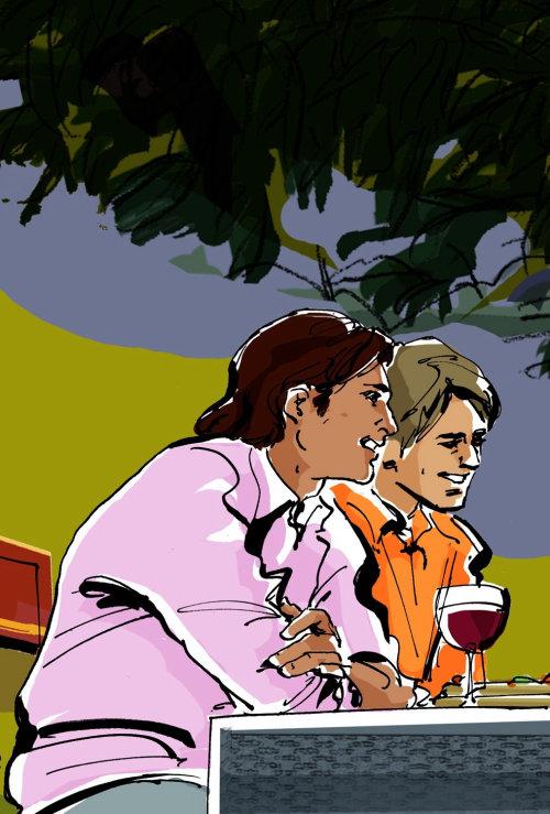 illustration aquarelle de 2 hommes dans un paysage extérieur dégustation de vin