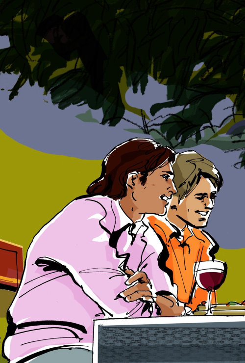 watercolor illustration of 2 men in outdoor scenery tasting wine