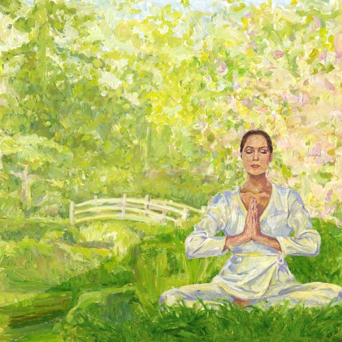 People meditation in nature
