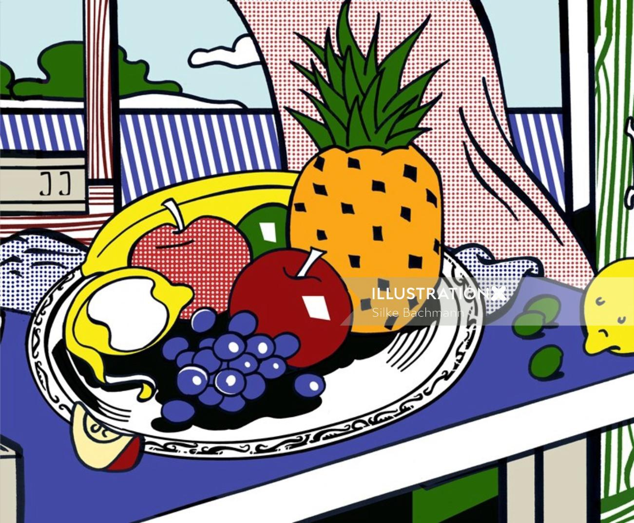Fruits illustration by Silke Bachmann