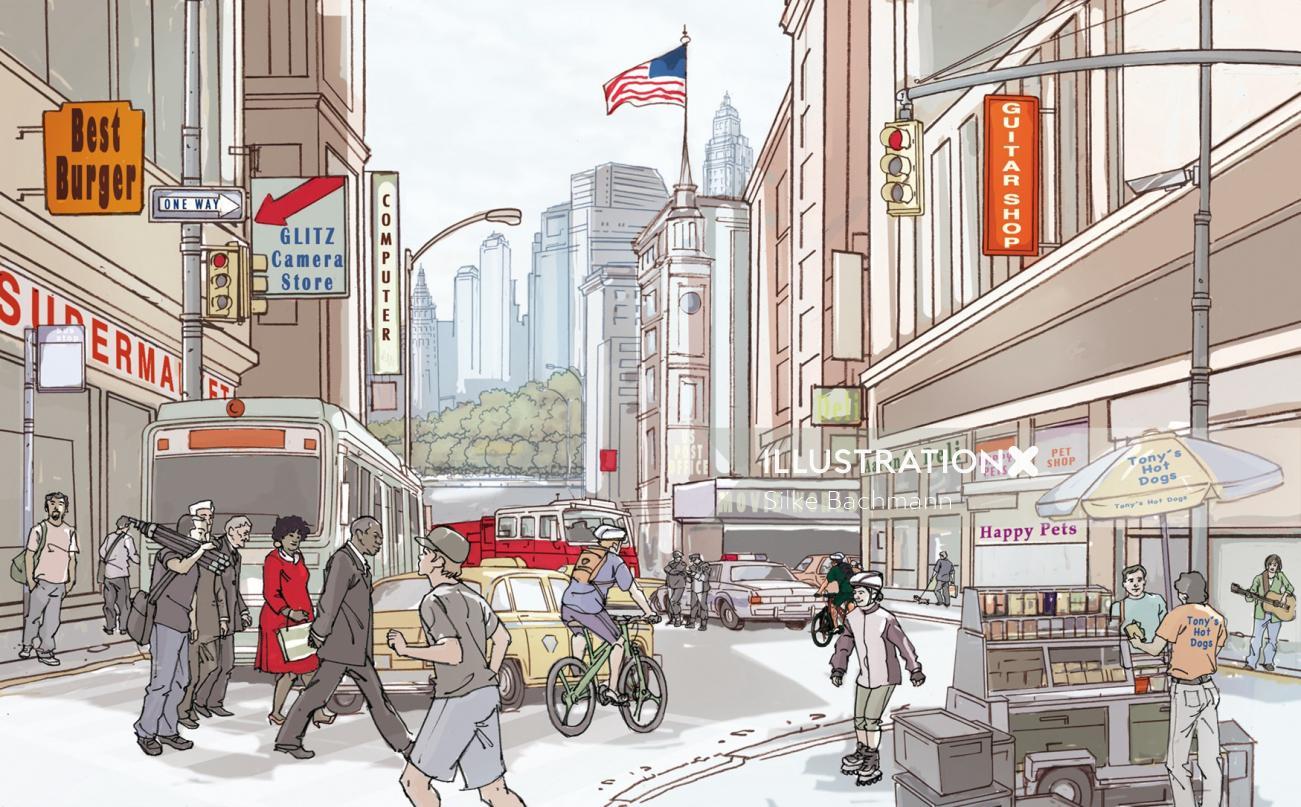 Cityscape architecture illustration