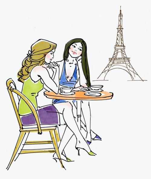 Deux filles devant Eiffel
