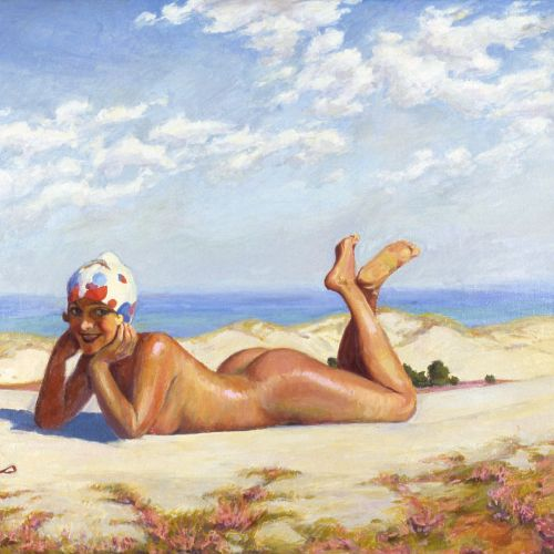 Nude woman sleeping at beach - An illustration by Silke Bachmann