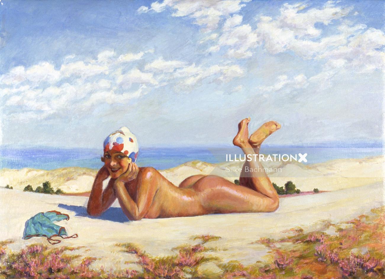 Nude woman sleeping at beach - An illustration by Silke Bachmann