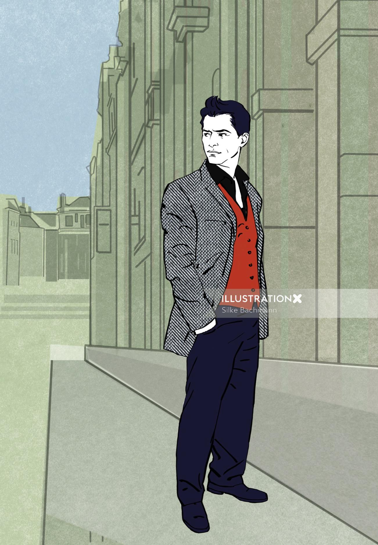 Young man fashion illustration