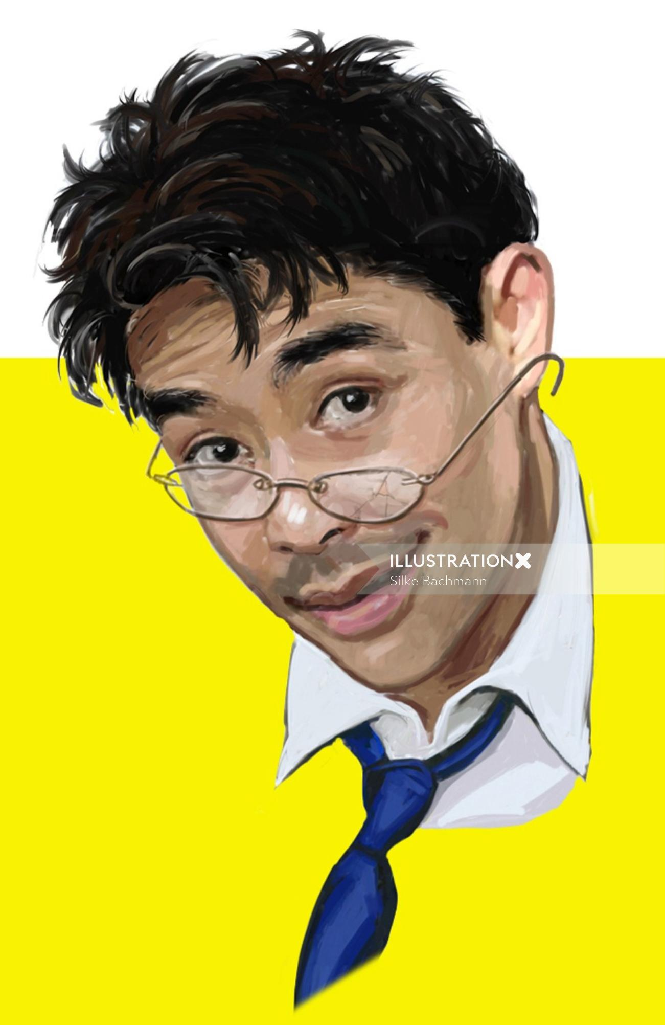 Painting of a guy wearing spects