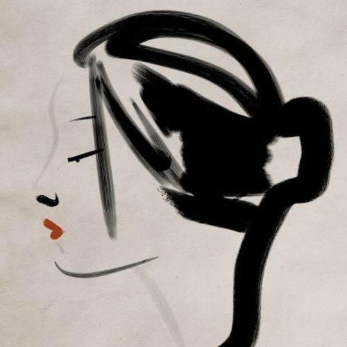 Trendy hair style of a lady - an illustration by Silke Bachmann