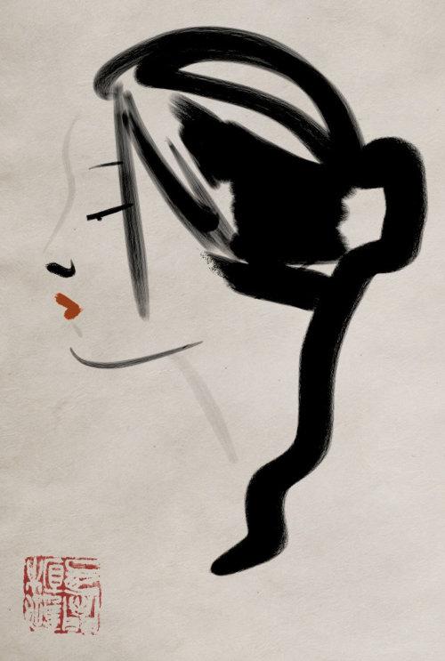 Trendy hair style of a lady - an illustration by Silke Bachmann