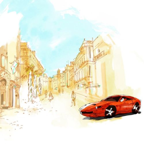 water color painting of car in street
