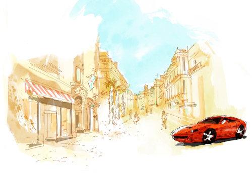 Peinture à l'eau de voiture dans la rue