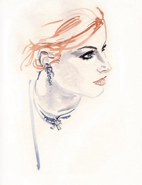 Dame Fahion aux cheveux roux - Une illustration de Silke Bachmann