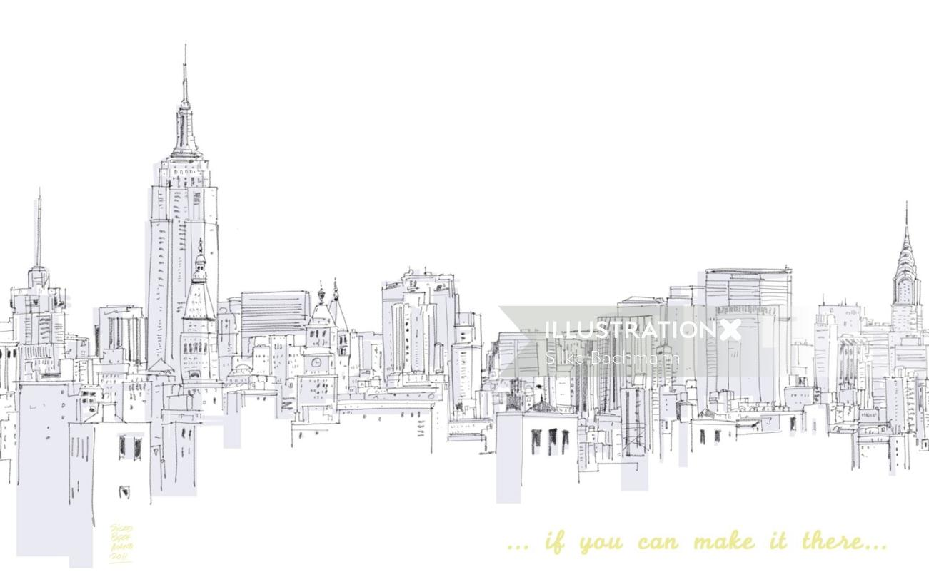 Line drawing of street view of buildings