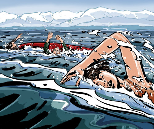 Gens nageant en mer