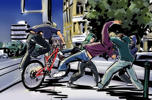 Combat de rue des jeunes