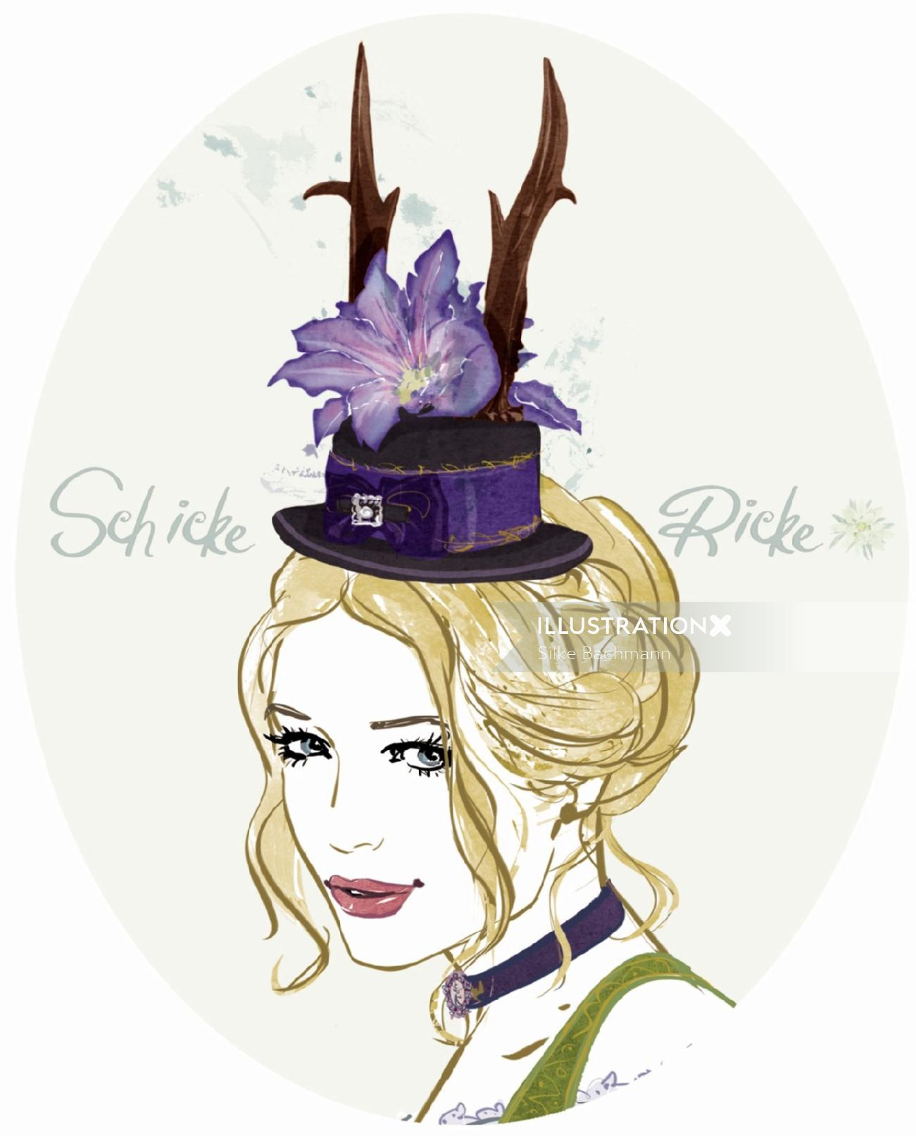 Fashion illustration of Schicke Ricke hat
