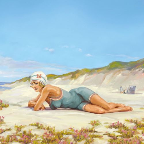 Swim suit woman sleeping at beach - An illustration by Silke Bachmann