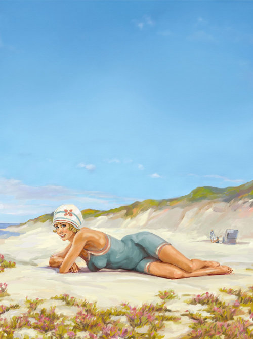 Swim suit woman sleeping at beach - An illustration by Silke Bachmann