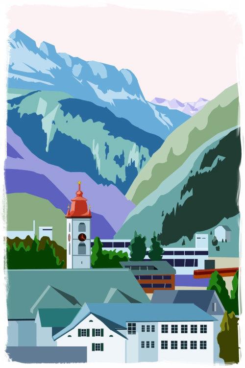 Architecture design of city in hill