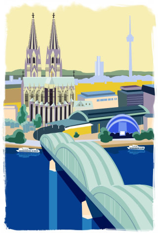 Aerial view of city scene vector art