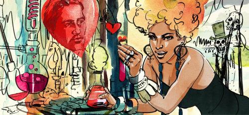 Illustration rétro de woam avec médecine d'amour